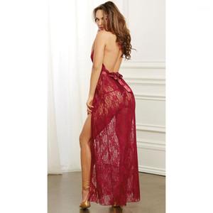 Através Pijamas Mulheres Sexy Lace sono Pijamas Robes Noite Vestuário Briefs profundo decote em V See