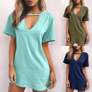 Casual Frauen Massivfarbe Tiefe V-ausschnitt Kurzarm T-shirt Sexy Lose Minikleid ausgehöhlt Alles Pullover Polyester Kleid