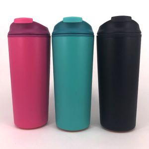 12 OZ Tumbler Yaratıcı Çift Duvar Plastik sızdırmaz Olmayan dökülen Fincan Taşınabilir Spor Araba Su Şişesi Fincan Emme ile