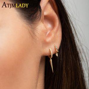 2019 printemps couleur plaqué or Spike cz boucles d'oreilles pour les femmes mariage petites boucles d'oreilles Huggie minuscule Minimal dainty hoops jewerly