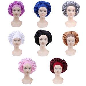 58cm Solid Color Long Hair Care Night Sleep Hat Silk Head Wrap Adjust Shower Caps Knitted Cap Women Satin Bonnet Cap