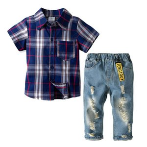 Summer 2020 New casual boys suits kids designer clothes boys clothing sets Shirts+hole Jeans 2pcs set boys clothes kids clothes retail B984
