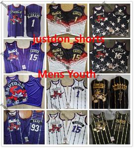 Vintage cosido TorontorapacesJersey para hombre Niños 1 McGrady 15 Vince Carter cosido 2 # Kawhi Leonard retro malla jerseys del baloncesto