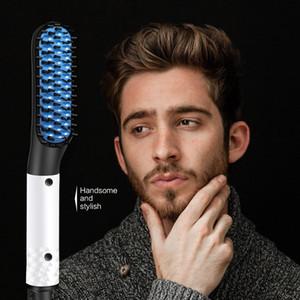 Plancha de pelo de cepillo Mujeres Hombre Barba enderezadora peine del pelo Herramientas de peluquería Peine endereza el hierro plano del pelo que labra la herramienta