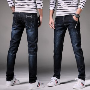 Hommes Jeans Mode élastiques droite Slim Pantalons Pure Color 2019 Spring Summer Casual Skinny Jeans Ripped Taille Plus