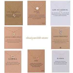 Licorne Pendentif Colliers ras du cou double cercle Sun Charm perle Sautoirs Collier tendance avec carte pour Femmes Filles Bijoux chanceux cadeau