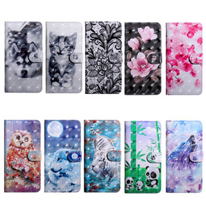 Custodia a portafoglio in pelle fiore 3D per Iphone XR XS MAX X 10 8 7 6 6S SE 5 5S Lupo per cani Tiger Tiger Cat Owl Lace Card Slot ID Magnetic Luxury Luxury Flip Cover