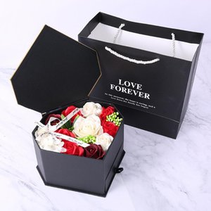 Novia Día Cuerpo partido de la flor del jabón de doble gaveta boda Valentine caja del regalo de Rose Corazón romántico baño de pétalos Decoración