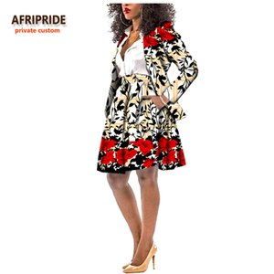 Afripride Africano 2-Pieces Gonna Vestito per le donne 100% cotone Tailor Made regolare Blazer + ginocchio Gonna Donne Suit A722613
