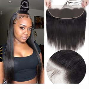 Pre Plucked Lace Frontal Closure with Baby Hair 100% Brazilian Straight Human Hair 13x4 Ear To Ear Lace Frontal Brazilian Remy Hair