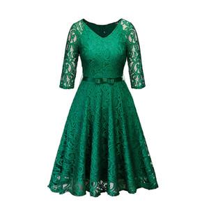 Femmes Vêtements Femmes Robes Femmes Parti gothique Noir Bleu marine Vert évider Floral Robe en dentelle Bow ruban de ceinture de printemps Robes d'été