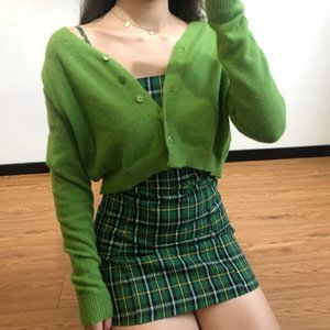 WOMENGAGA 2020 coreano Moda Autuymn Primavera Magro Sexy V-Neck Tops cor sólida Single-Breasted Cardigan WO009