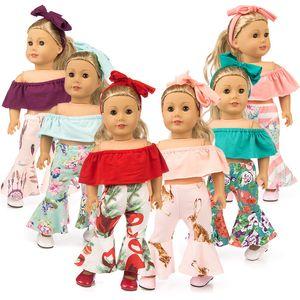 Épaule en tissu Bell Bottom Pantalons Bande de cheveux Ensembles costume pour 18 pouces poupée vêtements American Girl poupée