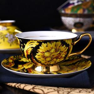Juego de tazas de café europeo con embalaje de caja Estilo iBritish Plato de cerámica Vajilla Taza de café Juego de té de la tarde Cocina casera