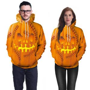 Halloween pumpkin print hoodie hooded pullover men women 3D Skull print Fall Winter Male Female coat outwear sweatshirt JY767