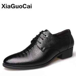 XiaGuoCai Роскошные Натуральная Кожа Мужчины Оксфорд Обувь Британский Бизнес Зашнуровать Крокодил Господа Вечернее Платье Свадебная Обувь
