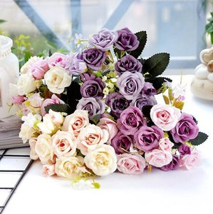 6PCS Silk flowers rose hotsale small roses hotel home wedding decoration good quality cheap artificial flowers T200519