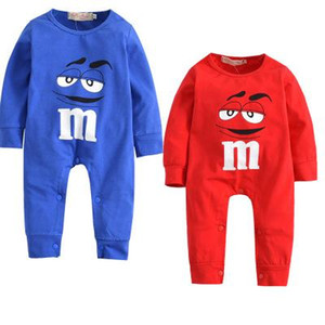 1 set Newborn Baby Boys Girls Clothes Cartoon M beans 100% Cotton Long Sleeve Jumpsuits Toddler Casual Baby Clothing Sets lxhua