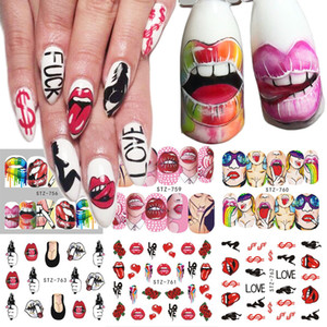 1 pcs Nail Stickers Lèvres Sexy Cool Fille Stickers D'eau Wraps Cartoon Sliders Pour Nail Décoration Manucure Colorful Conseil