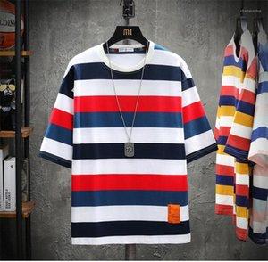 Verano del Mens camisetas camisetas raya de la moda de manga corta impresa transpirable Tees nuevo estilo para hombre del diseñador Loose