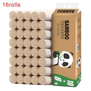 16 rotoli Facile Scioglimento morbida Ufficio Scolastico Nessuna irritazione 4 strati ispessito goffratura igienica Bamboo Paper Pulp Coreless