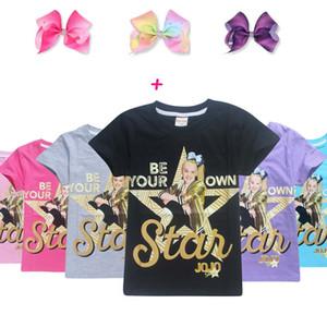 Детская дизайнерская одежда для девочек jojo siwa Хлопчатобумажная футболка для девочек детская дизайнерская одежда для девочек-подростков Топы jojo siwa с бантиками