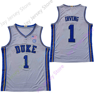 2020 New NCAA College Duke Blue Devils Jerseys 1 Irving Basketball Jersey White Grey All Stitched Size Youth Adult