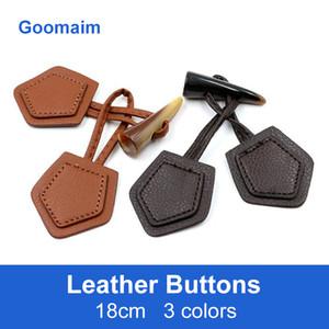 50pcs / lot 18 centímetros botões de couro longo moda cor natural para costura jeans sobretudo nó botões sapo chinês no botão da buzina 3 colols