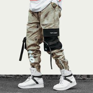 Kalça Kalça Streetwear Erkekler Kamuflaj Koşucular Pantolon Erkekler Kurdeleler Pamuk Kargo Pantolon Pantolon Elastik Bel Harem Pant Erkekler Pantolon