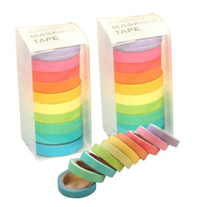 Rainbow Solid Color Japanese Masking Washi Sticky Paper Tape Adhesive Printing DIY Scrapbooking 2016 Deco Washi Tape