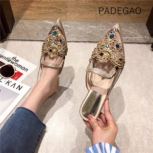 2020 Fashion Hollow Out Women Slippers Casual Elegant Crystal Slippers Korean Style Sexy Shoes