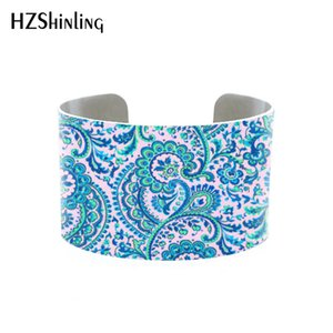 Statement cuff bracelet, teal green floral wide metal bangle, unusual handmade jewelry Fuchsia cuff roses flower