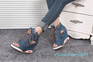 Free Shipping 2019 New Style Fashion Women's Denim Heighten shoes Girls Lace up sandals c09