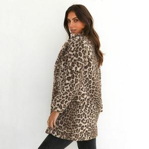 2020 Hiver chaud récent Femmes chaud Leopard Fluffy Toison manteau de veste à capuchon Cardigans Jumper Hauts Clubwear