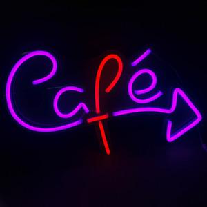 21 '' Cafe Sign Türdeko Bar Öffentliche Plätze Lila Neonlicht 12 V Super Bright Großhandel