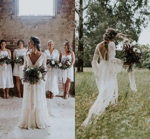 Gothic Country Wedding Dresses V Neck Lace Bohemian Rustic Flare Long Sleeve Bridal Gown Backless Sweep Train Robes De Mariee AL6237