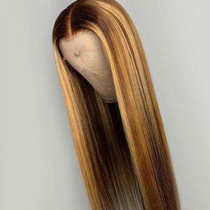 긴 Stragiht 옹 브르 보이지 않는 강조 여성 브라질 레미 헤어 가발 표백 된 매듭에 대한 색 레이스 프런트가 인간의 머리 가발