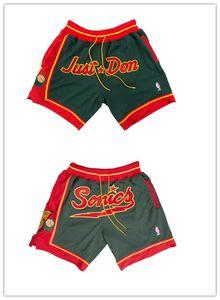SeattleSupersonicsMEN Shorts JUST DON By Mitchell & Ness Pocket basketball pants S-2XL