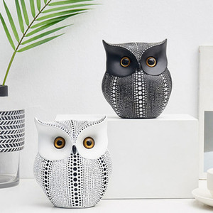 Nordic Style Минималистский Craft Белый Черный Совы животных Статуэтки Смола Miniatures Главная украшения Гостиная украшения Crafts
