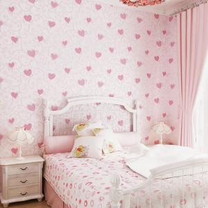 Doce dos desenhos animados 3d teste padrão gravado Coração Wallpaper quartos dos miúdos do rosa da menina decoração do quarto Wallpapers auto-adesivo papel de parede EZ050