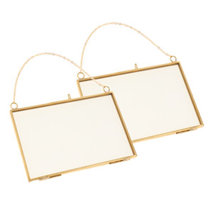 2pcs Double Side Glass Wall Hanging Photo Picture Frame Golden 15 X 10cm