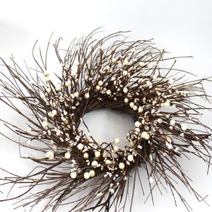 Gifts Pip Berry Twig Wreath 20Inch Ivory Vanilla Rustic Farmhouse White Twig Wreath Home Decor Year Round Door Decor