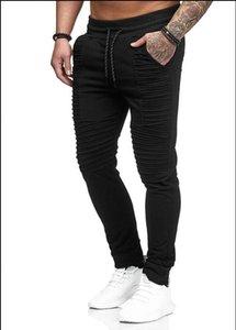 Hombres de diseno drapeado del basculador pantalones sólido de la manera elástico de la cintura de Hiphop pantalones casuales