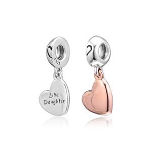 2019 Anneler Günü 925 Gümüş Takı anne kızı Sevgi Dangle Charm Boncuk Kadınlar DIY Yapımı İçin Pandora Bilezikler Kolye uyar
