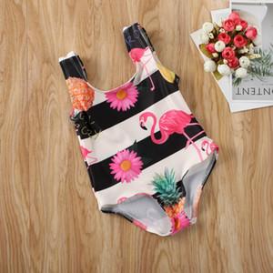 2020 HOT Sweet Newborn Baby Girls Kids Summer Sunflower Flamingo Print цельный купальник купальники плавание купальный костюм