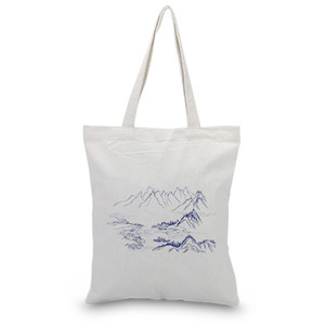 Ink Draw Canvas Tote Bag Text DIY Custom Print Logo Uso diario Bolsa de compras Eco Ecologicas Reutilizable Reciclar