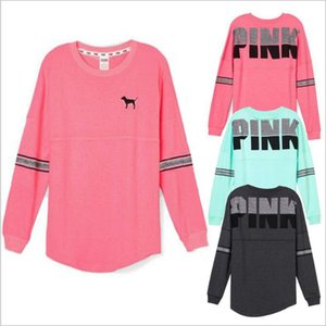 Top ROSA lettere giacche di marca con cappuccio rosa di lustrini cappotto Love Pink felpa moda Stampato Pullover allentato tuta