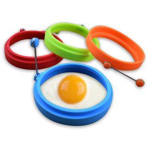 4 couleurs en silicone moule Omelette Omelette avec poignée oeuf moule rond cuisson à haute température Cuisine Outils Petit-déjeuner Essential BH1967 CY