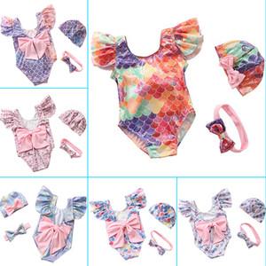 INS Gold Stamping Metmaid Swimwear Ruffle Bow Bikini Swimsuit Headband Hats 3Pcs Swimming Costume 6 Colors Baby One-Pieces