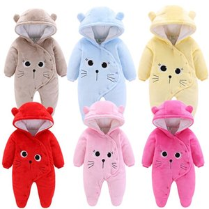Girls Clothes Newborn Winter Hoodie Rompers Polyester Boy Romper Climbing Outwear Infant Baby Jumpsuit 3M -12M T200706